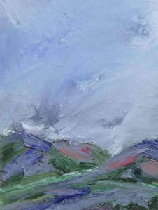 TOWARDS BALLATER III. Oil on card, 38 x 31.5cm mounted, glazed frame. Available for sale
