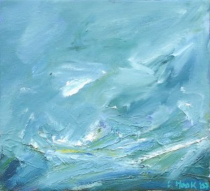 WILD DAY ON DINNET MUIR III. Oil on canvas over board, 26 x 29cm, framed 47 x 51cm. Private collection