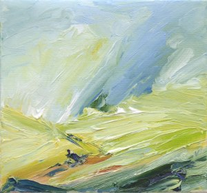 CALIFORNIAN SUMMER. Oil on canvas over board, 15 x 16cm, framed 20 x 21 x 6cm. Available for sale