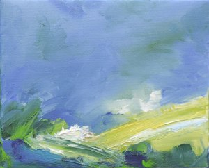 DINNET IN SUMMER III. Oil on canvas, 15 x 20cm, framed 17 x 22 x 6cm. Private collection