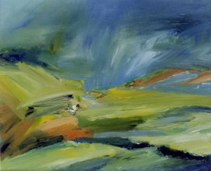 FIELDS ABOVE DINNET III. Oil on canvas over board, 26 x 32cm framed 50 x 55cm. Private collection
