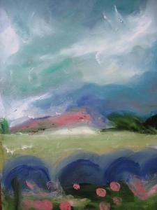 FIELDS ABOVE DINNET - LOOKING WEST. Oil on card, 38 x 31.5cm glazed + framed. Available for sale