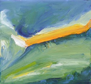 FIELDS ABOVE DINNET V. Oil on canvas over board, 15 x 16cm, framed 20 x 21 x 6cm. Available for sale