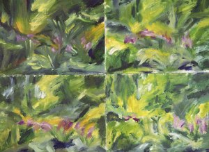 FOUR SKETCHES OF SPRING GARDEN. Oil on cards, 55 x 75cm, glazed + frame 83 x 98cm. Available for sale