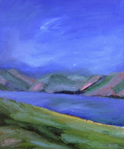 LOCH MUICK IN LATE SUMMER. Oil on card, 38 x 31.5cm mounted, glazed frame. Private collection