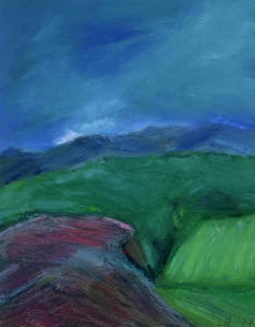 LOOKING EAST FROM MULLOCH. Oil on card, 32 x 26cm mounted, glazed + frame. Private collection