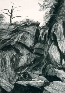 ROCK SKETCH V. Charcoal on paper, 42 x 29.5cm mounted, glazed + frame. Private collection