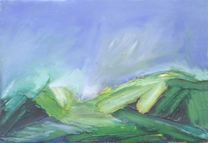 SCOTTISH SPRING II. Oil on canvas over board, 15 x 21cm, framed 18.5 x 24.5cm. Private collection