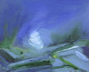 SCOTTISH WINTER. Oil on card, 38 x 31.5cm mounted, glazed frame. Private collection