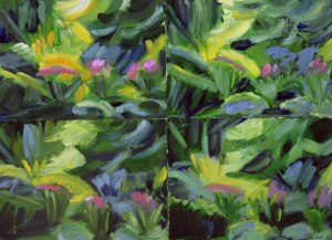 SPRING BLAZE. Oil on 4 cards, 55 x 75cm, glazed + frame 83 x 98cm. Available for sale
