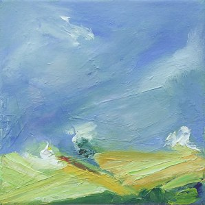 SPRING LANDSCAPE. Oil on canvas 20 x 20cm glazed, framed 33 x 33 x 2.5cm. Private collection