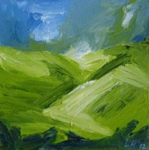SPRING ON GLENSHEE 2012. Oil on canvas, 20 x 20cm plus frame. Private collection