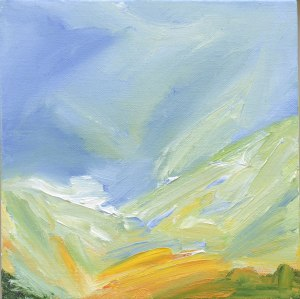 SUMMER IN MUICK VALLEY. Oil on canvas over board, 21.5 x 21.5cm, framed 26.5 x 26.5 x 6cm. Available for sale