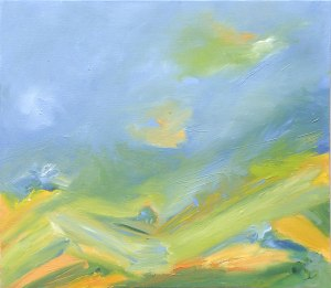 SUMMER LANDSCAPE. Oil over board, 43 x 50cm, framed 56.5 x 63cm. Private collection