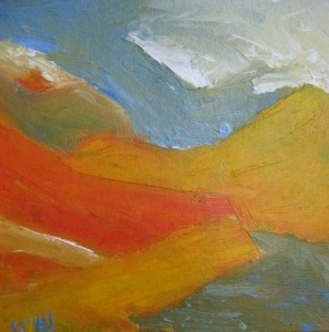 SUMMER LANDSCAPE SCOTLAND. Oil on canvas, 20 x 20cm plus frame. Private collection