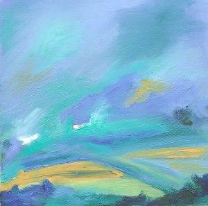 SUNRISE. Oil on canvas over board, 45 x 45cm, framed 62 x 62cm. Available for sale