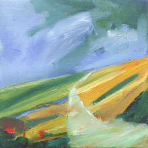 THROUGH THE LANDSCAPE II. Oil on canvas, 33 x 28cm, framed 35 x 30 x 7.5cm. Private collection