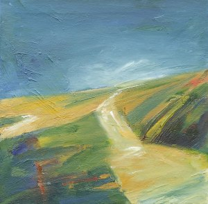 THROUGH THE LANDSCAPE III. Oil on canvas, 30 x 30cm, framed 32 x 32 x 7.5cm. Private collection