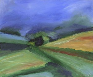 TOWARDS MOUNT KEEN. Oil on card, 26 x 32cm, glazed + frame. Private collection