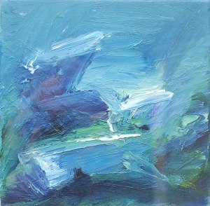 WILD DAY ON DINNET MUIR II. Oil on canvas, 20 x 20cm, glazed + frame 33 x33 x 2.5cm. Available for sale