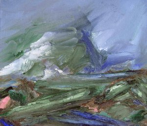 WINTER ON DEESIDE I. Oil on card, 26 x 32cm, glazed + frame. Private collection