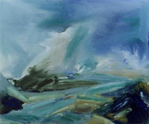 WINTER ON DINNET MUIR. Oil on canvas over board 26x32cm framed 50x55cm. Private collection